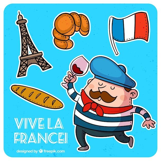Éléments Traditionnels Français Vecteur Premium
