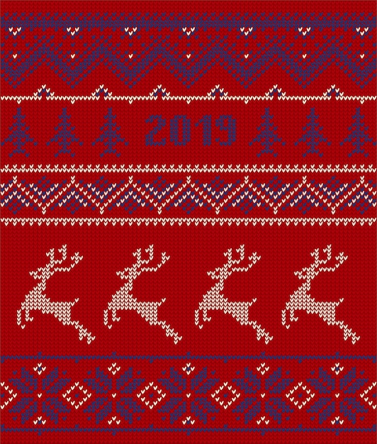 Éléments tricotés et bordures pour noël Vecteur Premium
