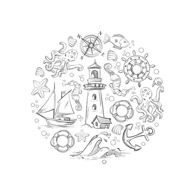 Éléments de vecteur marin de la vie sous-marine de la mer Vecteur Premium