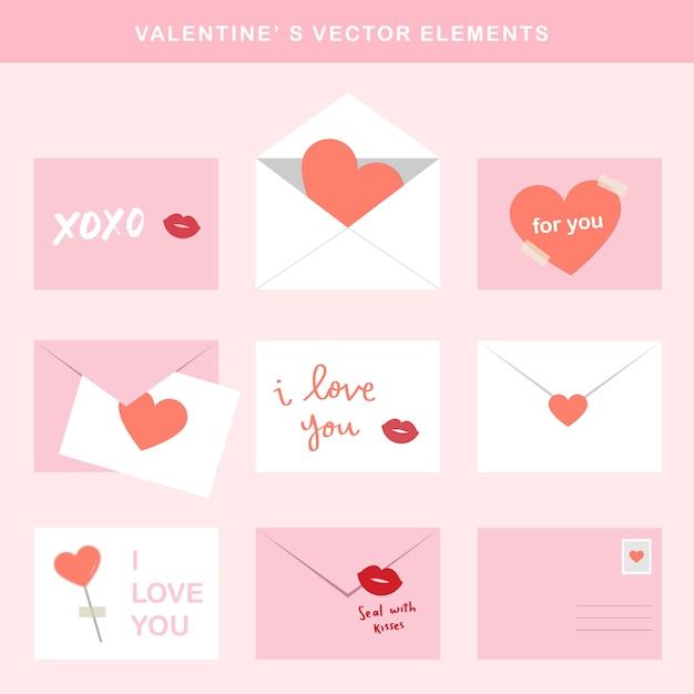 Éléments de vecteur saint-valentin - lettre Vecteur Premium