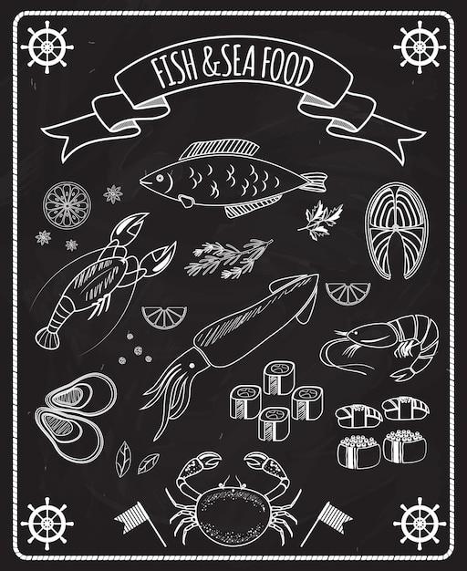 Éléments De Vecteur De Tableau Noir De Poisson Et De Fruits De Mer Avec Des Dessins Au Trait Blanc De Roues De Navires De Poisson Calamars Homard Crabe Sushi Crevettes Crevettes Moules Steak De Saumon Dans Un Cadre Avec Une Bannière De Ruban Vecteur gratuit