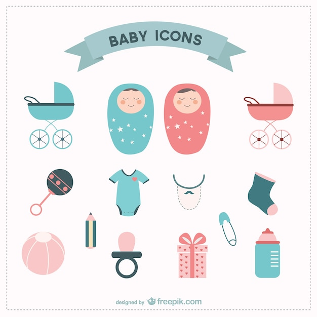 Éléments vectoriels bébé ont placé Vecteur gratuit
