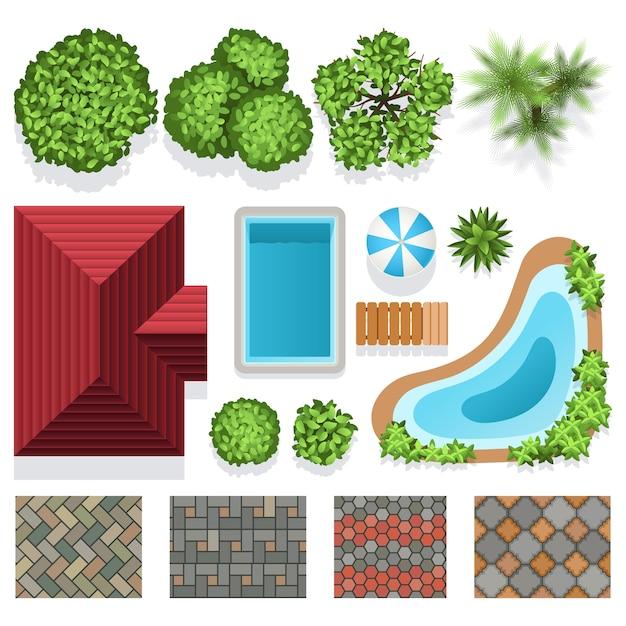 Éléments vectoriels de conception de jardin paysager pour plan de structure. conception de paysage architectural illustrat Vecteur Premium