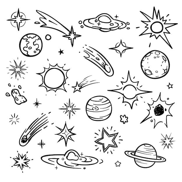 Éléments vectoriels de l'espace doodle. étoiles dessinées à la main, comètes, planètes et lune dans le ciel. astronomie et illustration de la planète, de l'espace et de la science Vecteur Premium