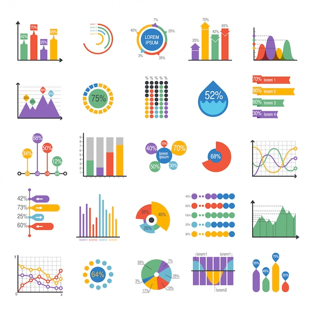 Éléments vectoriels de graphique de données commerciales Vecteur Premium