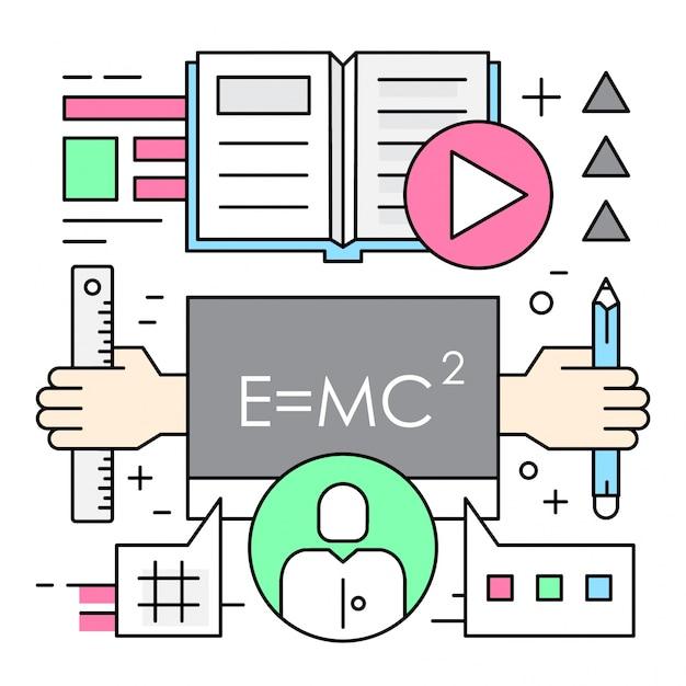 Éléments vectoriels linéaires d'éducation en ligne Vecteur gratuit