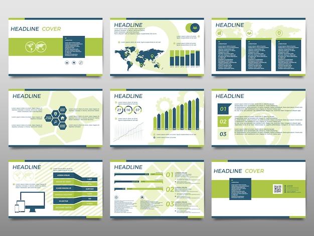 Éléments verts pour infographie sur fond blanc. modèles de présentation. Vecteur Premium