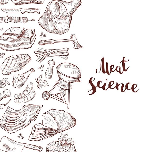 Éléments de viande dessinés à la main bannière avec lettrage Vecteur Premium