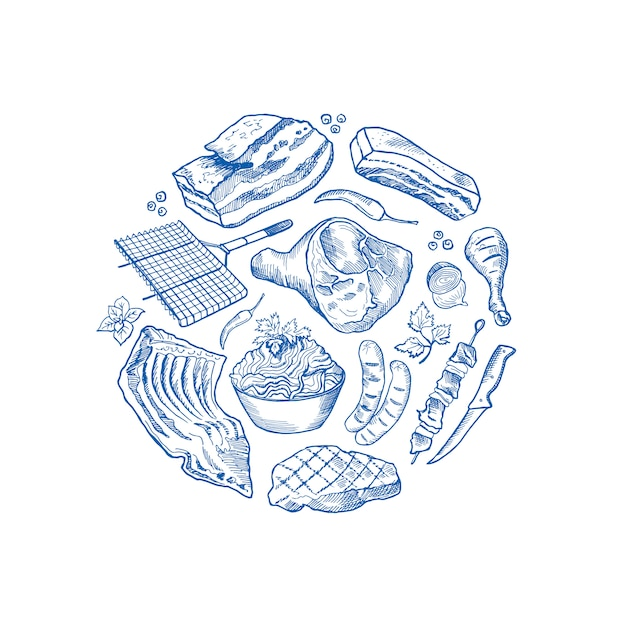 Éléments de viande monochromes dessinés à la main dans pour du cercle Vecteur Premium