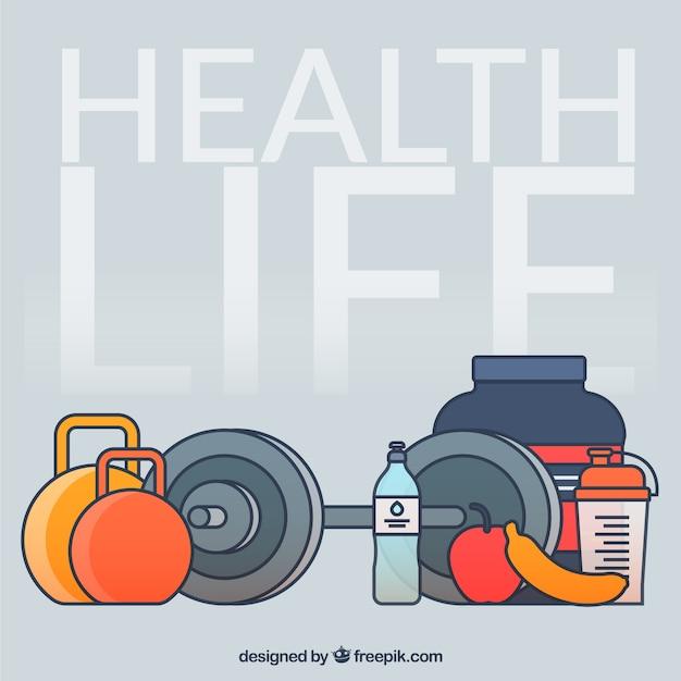 Éléments de vie en bonne santé Vecteur gratuit