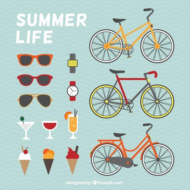 Éléments de la vie d'été Vecteur gratuit