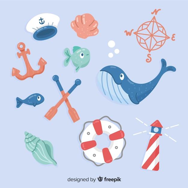 Éléments de la vie marine dessinés à la main Vecteur gratuit