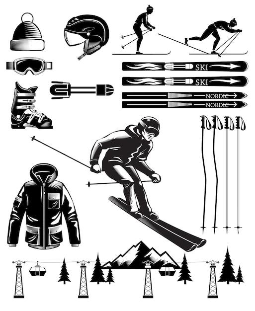 Éléments Vintage De Ski Nordique Vecteur gratuit