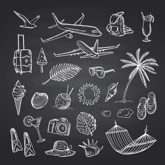 Éléments de voyage d'été sur l'ensemble de tableau noir Vecteur Premium