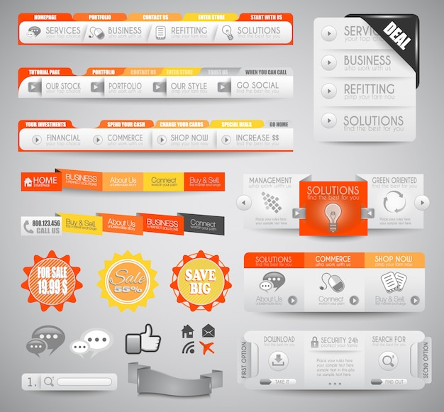 Éléments web propres et de qualité pour les blogs et les sites. Vecteur Premium