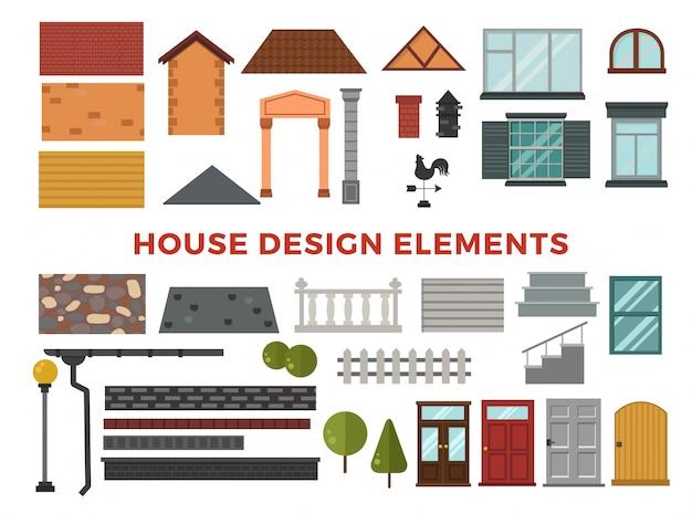 Elémets de conception vectorielle maison familiale Vecteur Premium