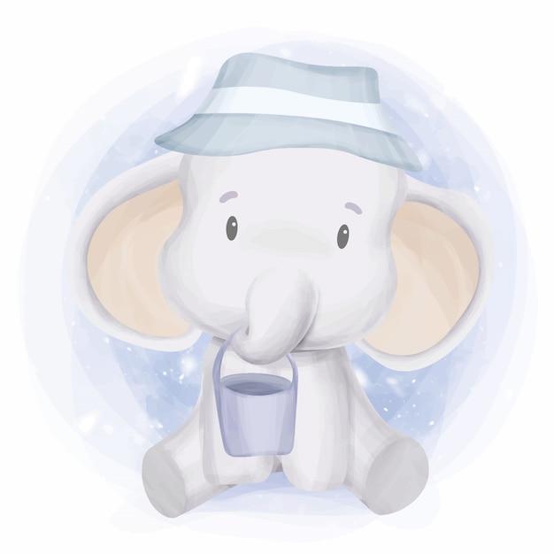 Éléphant animaux de dessin animé mignon jouant seau Vecteur Premium