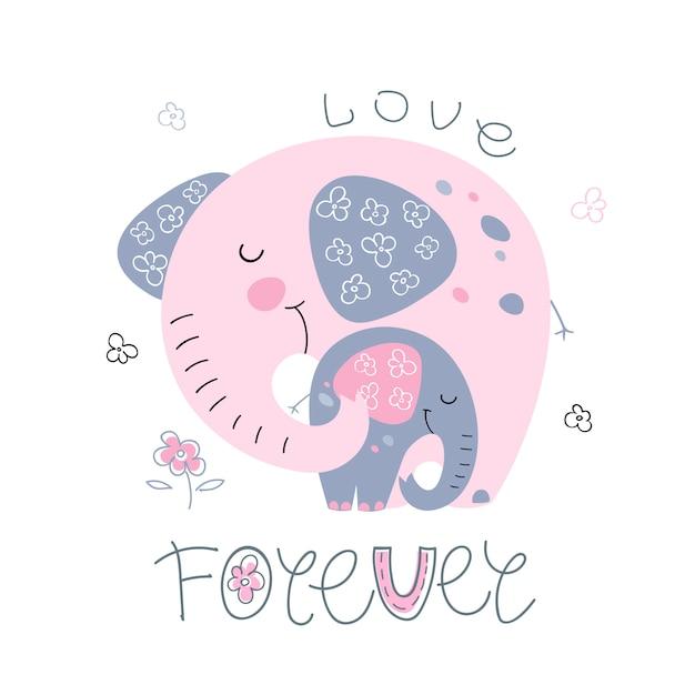 Éléphant Avec Un Bébé éléphant Dans Un Style Mignon. Amour Pour Toujours. Vecteur Premium