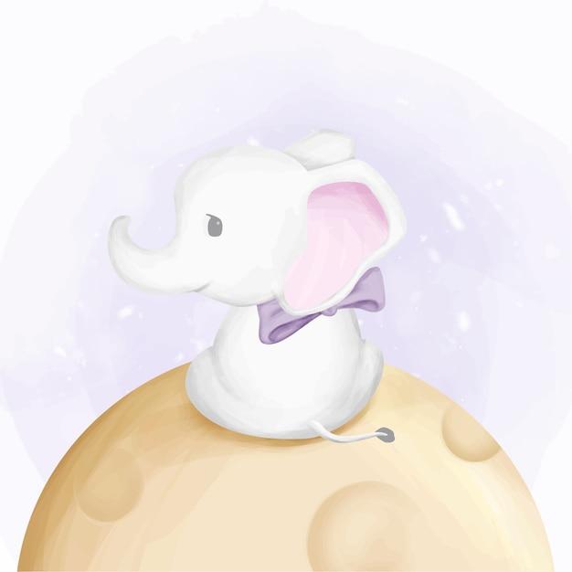 Éléphant bébé mignon mouche sur la lune Vecteur Premium