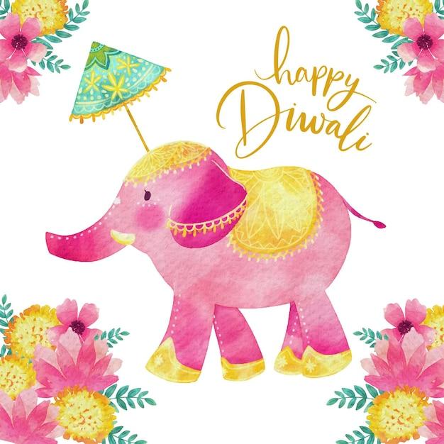 Éléphant Coloré De Style Aquarelle Diwali Vecteur gratuit