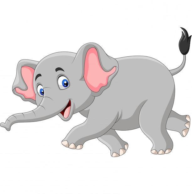 Éléphant de dessin animé isolé Vecteur Premium