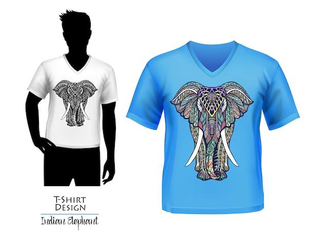 Éléphant indien doodle bannière de conception de t-shirt Vecteur gratuit