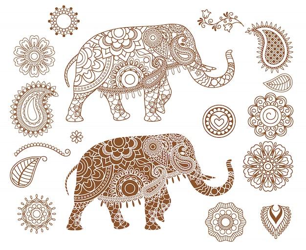 Éléphant indien avec des motifs mehendi Vecteur Premium