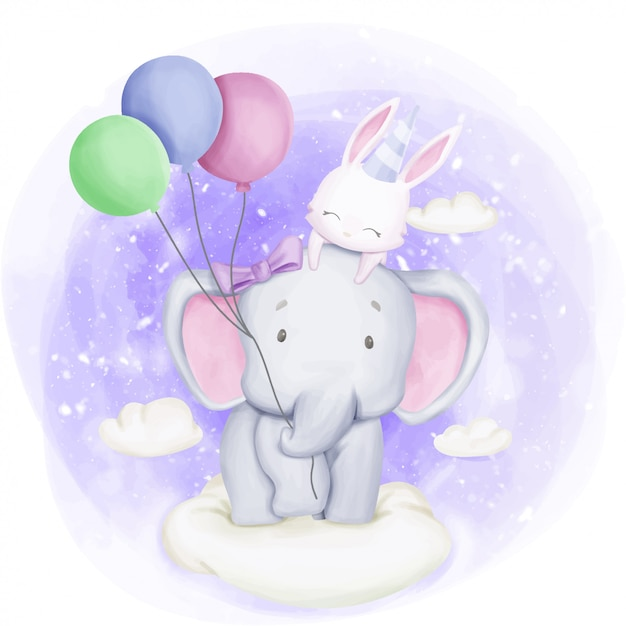 L'éléphant et le lapin célèbrent leur anniversaire Vecteur Premium