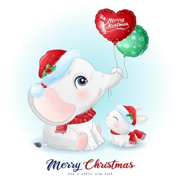 Éléphant Et Lapin Mignon Doodle Pour Le Jour De Noël Avec Illustration Aquarelle Vecteur Premium