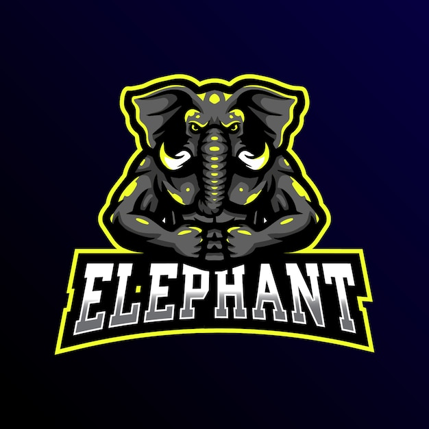 Éléphant Mascotte Logo Esport Gaming Illustration Vecteur Premium