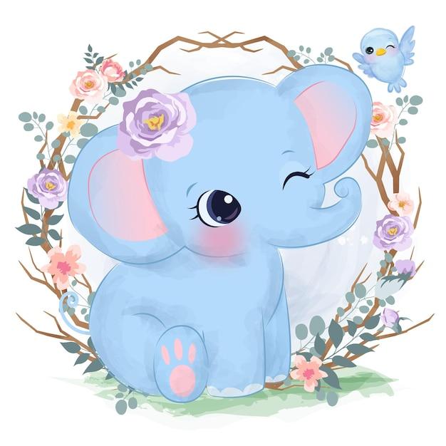 Éléphant Mignon Bébé Dans Un Style Aquarelle Pour La Décoration De La Chambre De Bébé Vecteur Premium