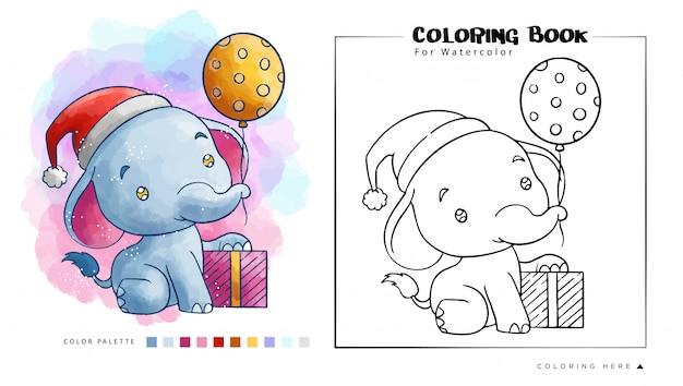 Éléphant Mignon Avec Cadeau De Noël Porter Le Chapeau Du Père Noël, Illustration De Dessin Animé Pour Le Livre De Coloriage Aquarelle Vecteur Premium