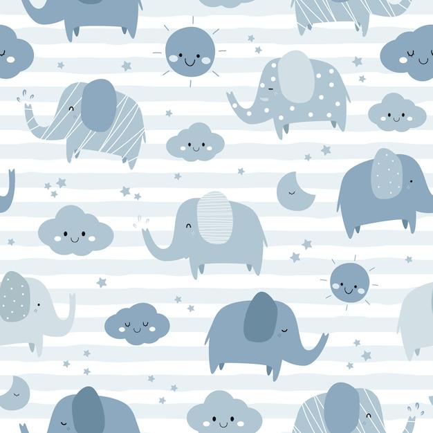 Éléphant mignon dessin de ciel modèle sans couture doodle Vecteur Premium