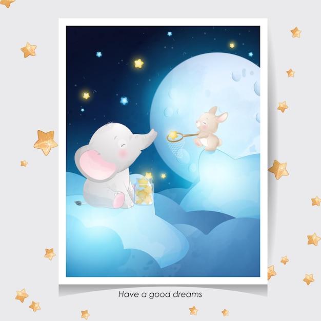 Éléphant Mignon Doodle Et Petit Lapin Avec Illustration Aquarelle Vecteur Premium