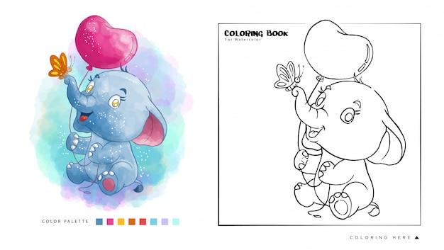 Éléphant mignon jouer avec ballon et papillon livre de coloriage aquarelle Vecteur Premium