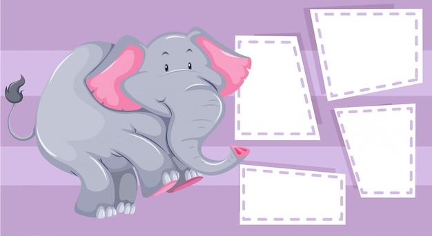 Éléphant sur le modèle de note Vecteur gratuit