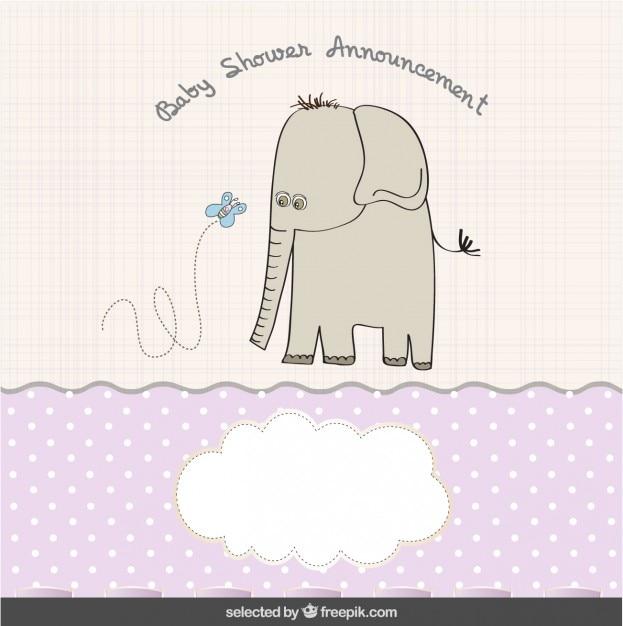 Elephant avec papillon bébé carte de douche Vecteur gratuit