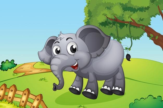 Un éléphant sautant à l'intérieur de la clôture en bois Vecteur gratuit