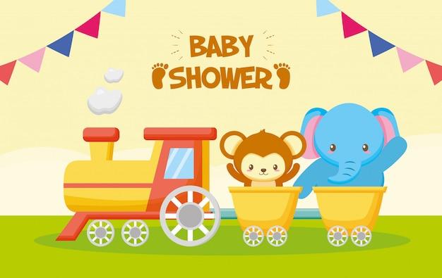 Éléphant et singe dans un train pour carte de douche de bébé Vecteur gratuit