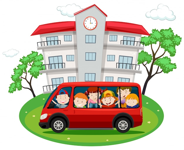 Des élèves à bord d'une camionnette rouge à l'école Vecteur gratuit