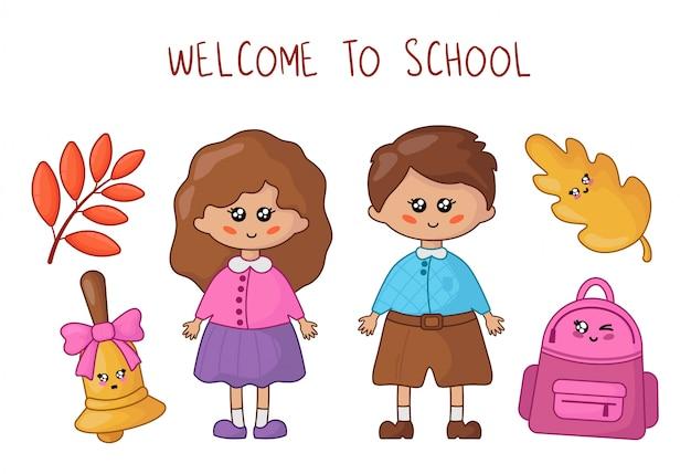 Elèves ou étudiants kawaii - garçon et fille et fournitures scolaires Vecteur Premium