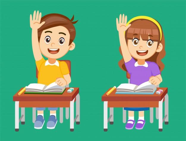 Les élèves sont en compétition pour obtenir des réponses en classe. Vecteur Premium