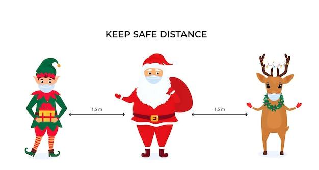 Un Elfe De Noël Drôle, Un Cerf Et Le Père Noël Portent Des Masques Protecteurs. Gardez Une Distance Sociale. Mesures Préventives Pendant La Pandémie De Coronavirus Coivd-19. Vecteur Premium