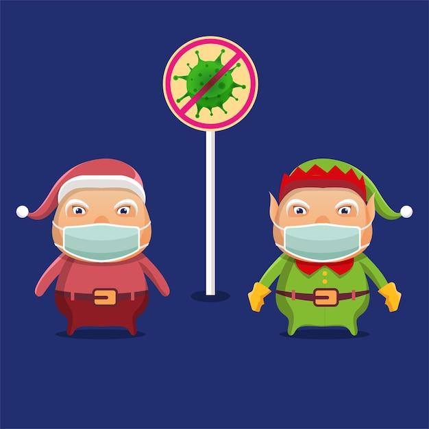Les Elfes De Dessins Animés Et Le Père Noël Sont Attentifs Au Covid-19 Lors Des Célébrations De Noël Vecteur Premium