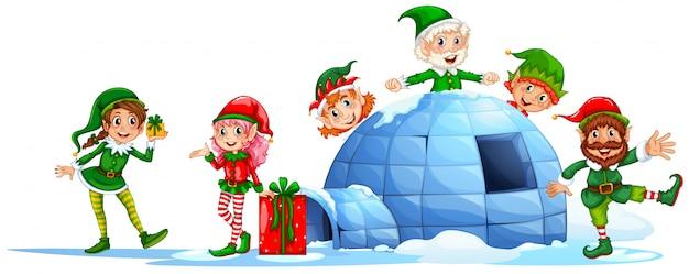 Elfes jouant à l'extérieur de l'igloo Vecteur gratuit