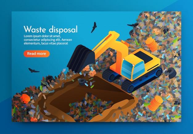 Élimination des déchets d'atterrissage à plat dans une immense décharge. Vecteur Premium