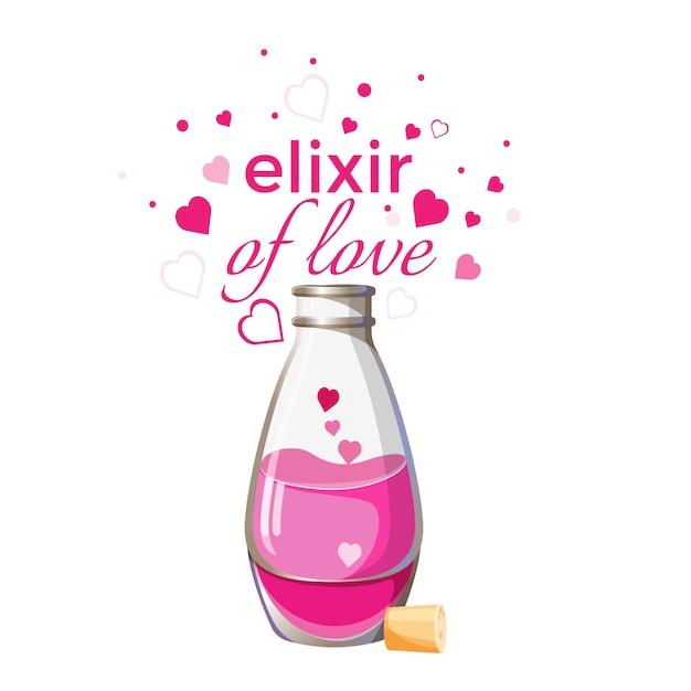 Elixir de bouteille d'amour avec un liquide rose et coeurs isolés Vecteur Premium