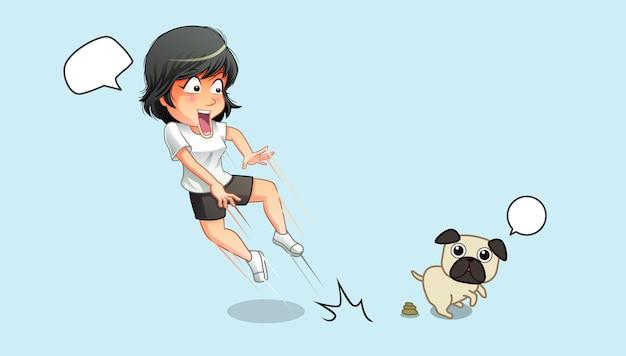 Elle est choquée pour son chien et ses excréments. Vecteur Premium