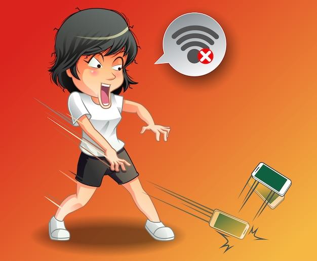 Elle a jeté le téléphone parce que le wifi est désactivé. Vecteur Premium