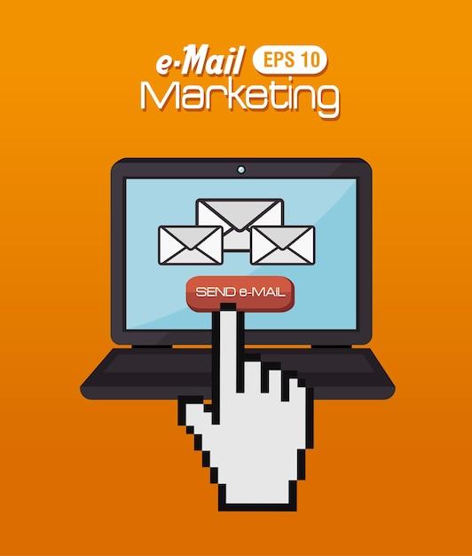 Email design, illustration vectorielle. Vecteur Premium